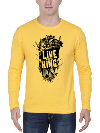 Live Like A King Men's Yellow Full Sleeve Round Neck T-Shirt - Crazy Punch