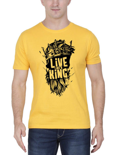 Live Like A King Men's Yellow Half Sleeve Round Neck T-Shirt - Crazy Punch