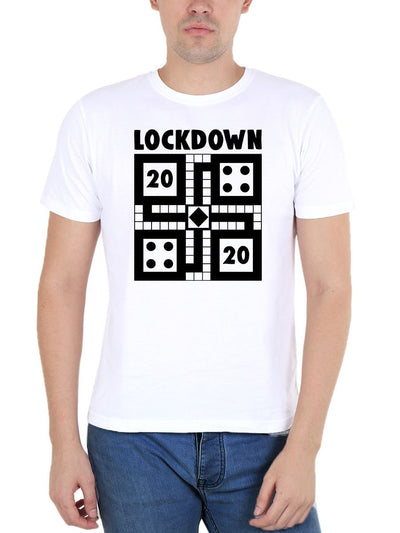 Lockdown 2020 Ludo Men's White Half Sleeve Round Neck T-Shirt - Crazy Punch