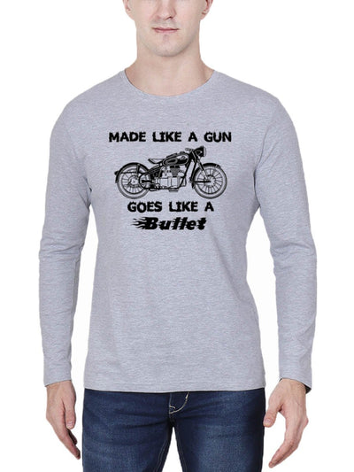 Made Like A Gun Goes Like A Bullet Men's Grey Melange Full Sleeve Round Neck T-Shirt - Crazy Punch