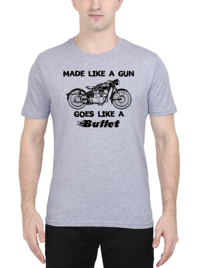 Made Like A Gun Goes Like A Bullet Men's Grey Melange Half Sleeve Round Neck T-Shirt - Crazy Punch
