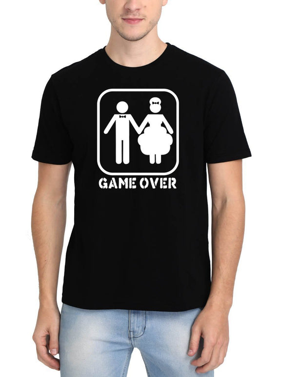 Marriage - Game Over Men's Black Round Neck T-Shirt - Crazy Punch