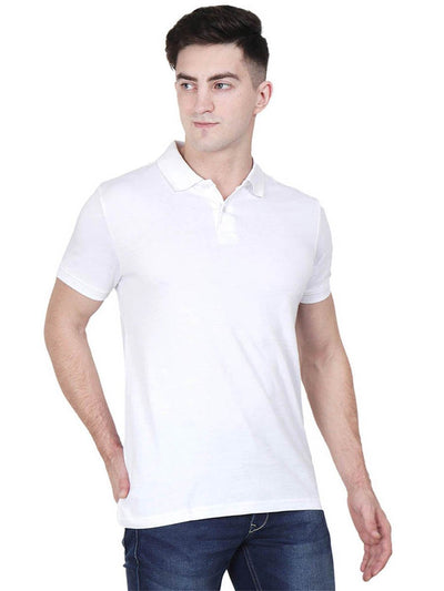 Men's White Plain Half Sleeve Polo Collared T-Shirt - DrunkenMonk