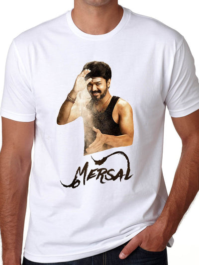 Mersal First Look - Thalapathy Vijay Men's White Half Sleeve Tamil Movie Round Neck T-Shirt - Crazy Punch