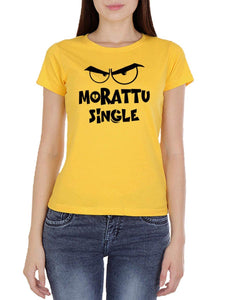 Morattu Single Women's Yellow Tamil Round Neck T-Shirt - Crazy Punch