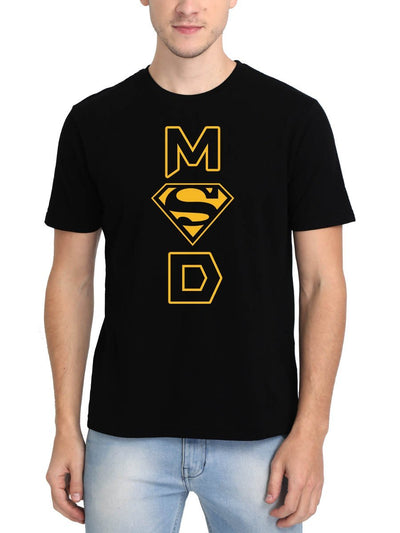 MSD - Super Man Men's Black Half Sleeve Round Neck T-Shirt - Crazy Punch