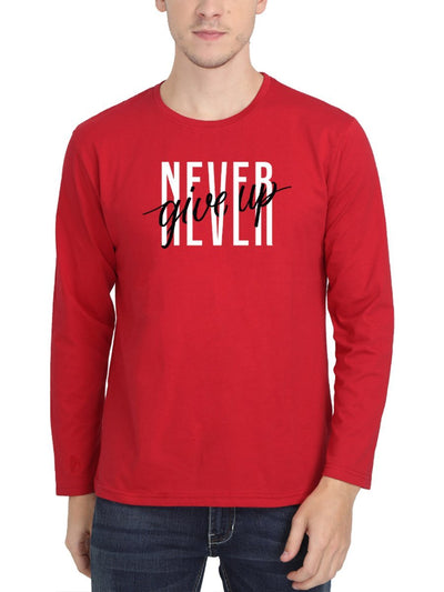 Never Give Up Men's Red Full Sleeve Round Neck T-Shirt - Crazy Punch