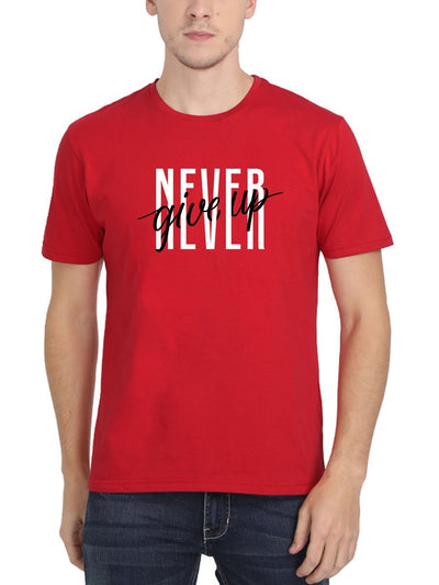 Never Give Up Men's Red Round Neck T-Shirt - Crazy Punch