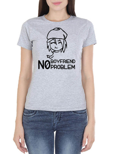 No Boyfriend No Problem Girl Face Women's Grey Melange Round Neck T-Shirt - Crazy Punch