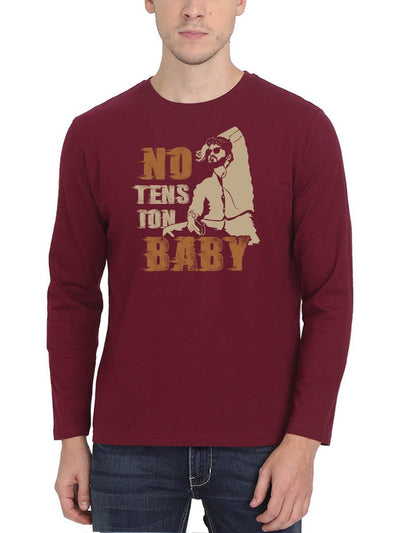 No Tension Baby Thalapathy Vijay Master Men's Maroon Full Sleeve Tamil Movie Song Round Neck T-Shirt - Crazy Punch