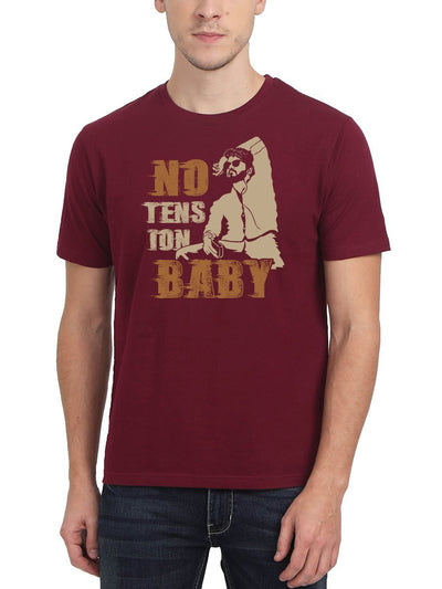 No Tension Baby Thalapathy Vijay Master Men's Maroon Tamil Movie Song Round Neck T-Shirt - Crazy Punch