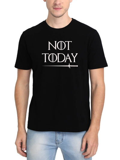 Not Today GOT Game Of Thrones Arya Stark Men's Black Round Neck T-Shirt - Crazy Punch