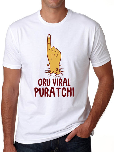 Oru Viral Puratchi Thalapathy Vijay Men's White Half Sleeve Tamil Movie Round Neck T-Shirt - Crazy Punch