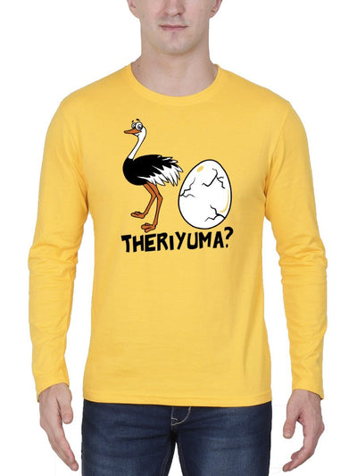 Ostrich Mutta Theriyuma Men's Yellow Full Sleeve Tamil Movie Round Neck T-Shirt - Crazy Punch