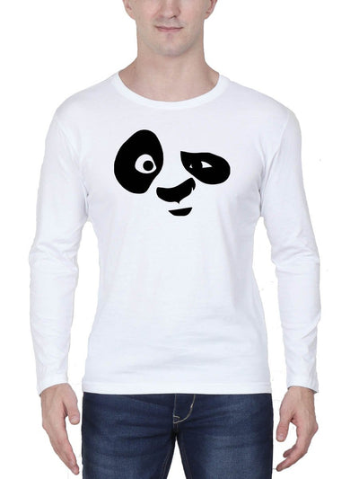 Panda Face Men's White Full Sleeve Round Neck T-Shirt - Crazy Punch