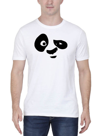 Panda Face Men's White Round Neck T-Shirt - Crazy Punch