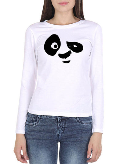 Panda Face Women's White Full Sleeve Round Neck T-Shirt - Crazy Punch