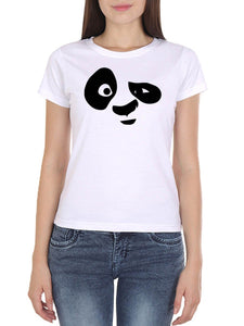 Panda Face Women's White Round Neck T-Shirt - Crazy Punch
