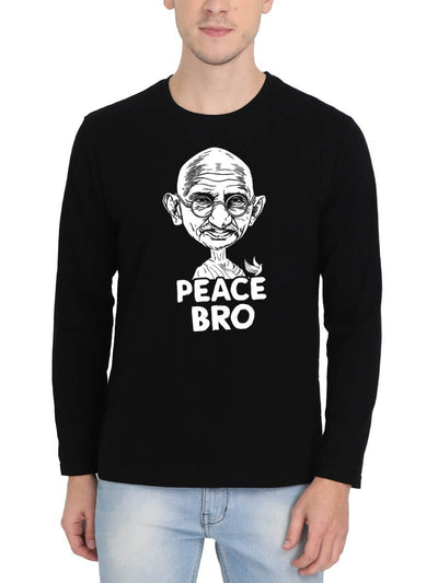 Peace Bro Gandhi Ji Special Men's Black Full Sleeve Round Neck T-Shirt - Crazy Punch