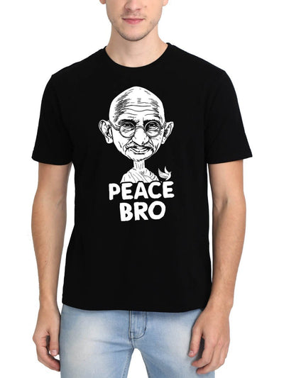 Peace Bro Gandhi Ji Special Men's Black Round Neck T-Shirt - Crazy Punch