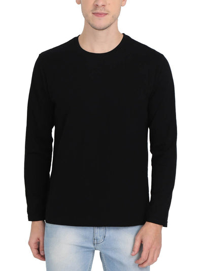 Plain Men's Black Full Sleeve Round Neck T-Shirt - Crazy Punch