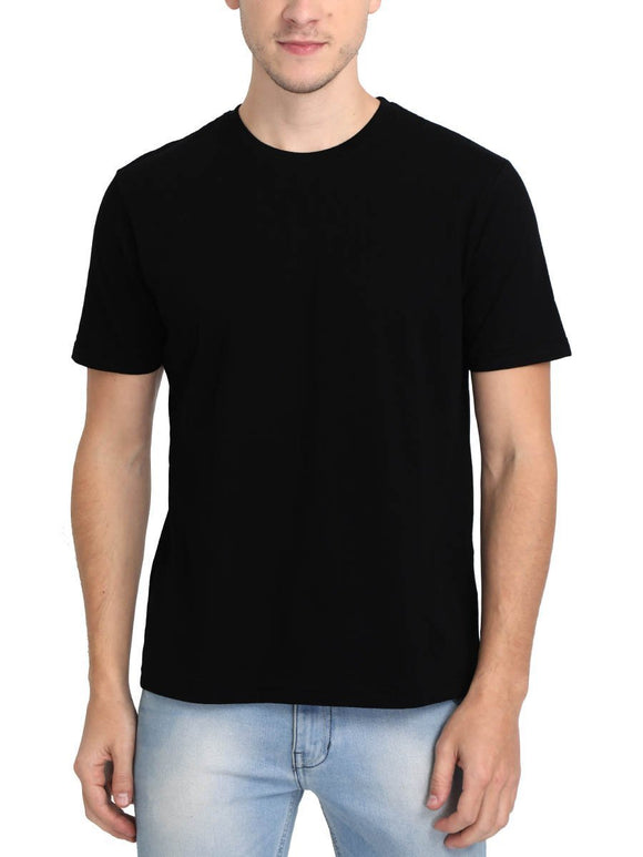 Plain Men's Black Round Neck T-Shirt - Crazy Punch