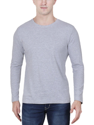 Plain Men's Grey Melange Full Sleeve Round Neck T-Shirt - Crazy Punch