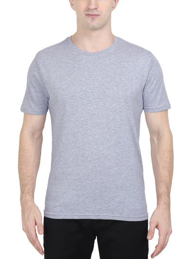 Plain Men's Grey Melange Half Sleeve Round Neck T-Shirt - Crazy Punch