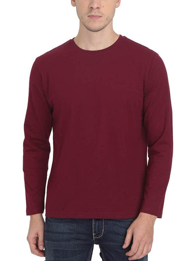 Plain Men's Maroon Full Sleeve Round Neck T-Shirt - Crazy Punch