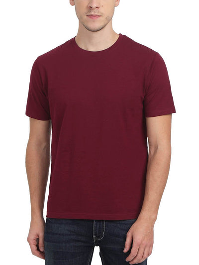 Plain Men's Maroon Round Neck T-Shirt - Crazy Punch