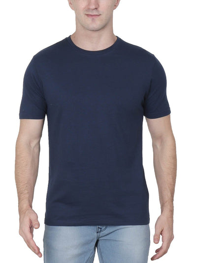 Plain Men's Navy Blue Half Sleeve Round Neck T-Shirt - Crazy Punch