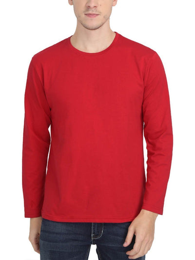 Plain Men's Red Full Sleeve Round Neck T-Shirt - Crazy Punch