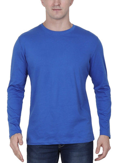 Plain Men's Royal Blue Full Sleeve Round Neck T-Shirt - Crazy Punch