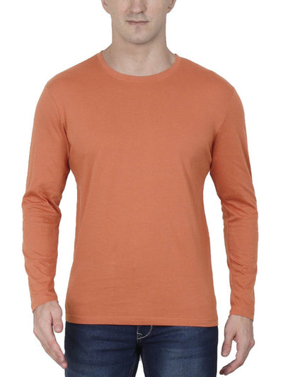 Plain Men's Saffron Full Sleeve Round Neck T-Shirt - Crazy Punch