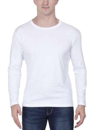 Plain Men's White Full Sleeve Round Neck T-Shirt - Crazy Punch