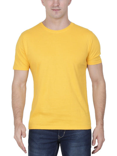 Plain Men's Yellow Half Sleeve Round Neck T-Shirt - Crazy Punch