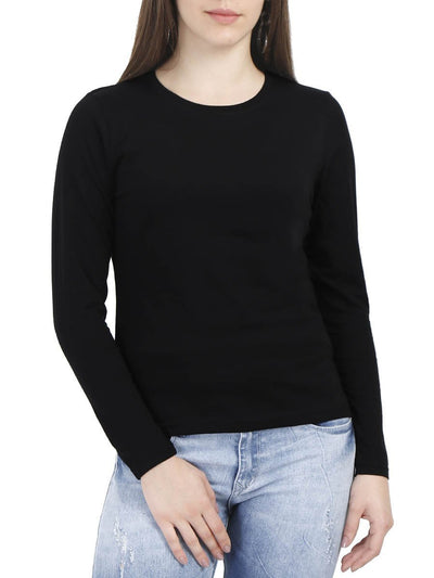 Plain Women's Black Full Sleeve Round Neck T-Shirt - Crazy Punch