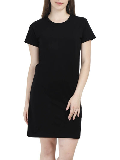 Plain Women's Black Half Sleeve T-Shirt Dress - Crazy Punch
