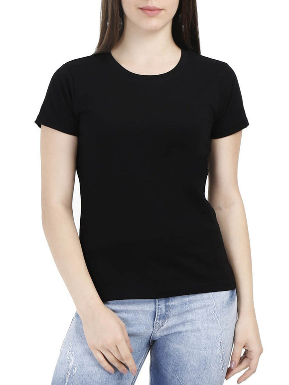 Plain Women's Black Round Neck T-Shirt - Crazy Punch