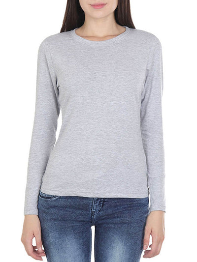 Plain Women's Grey Melange Full Sleeve Round Neck T-Shirt - Crazy Punch