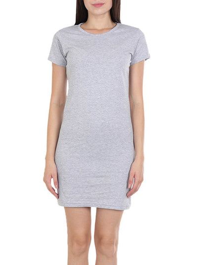 Plain Women's Grey Melange Half Sleeve T-Shirt Dress - Crazy Punch