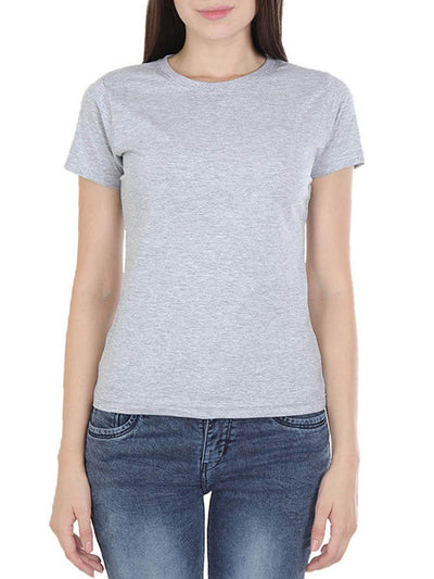 Plain Women's Grey Melange Round Neck T-Shirt - Crazy Punch