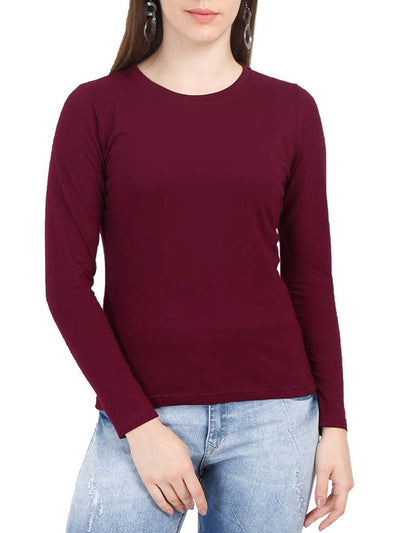 Plain Women's Maroon Full Sleeve Round Neck T-Shirt - Crazy Punch