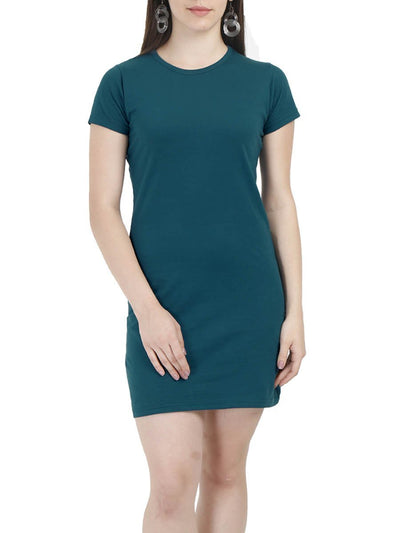Plain Women's Petrol Half Sleeve T-Shirt Dress - Crazy Punch