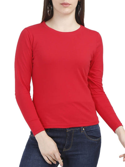 Plain Women's Red Full Sleeve Round Neck T-Shirt - Crazy Punch
