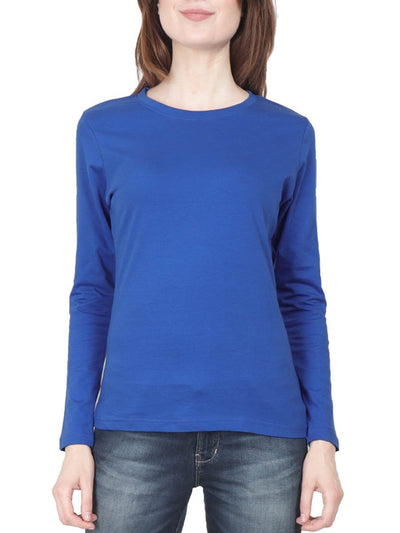 Plain Women's Royal Blue Full Sleeve Round Neck T-Shirt - Crazy Punch