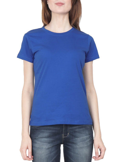 Plain Women's Royal Blue Half Sleeve Round Neck T-Shirt - Crazy Punch