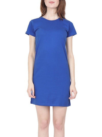Plain Women's Royal Blue Half Sleeve T-Shirt Dress - Crazy Punch