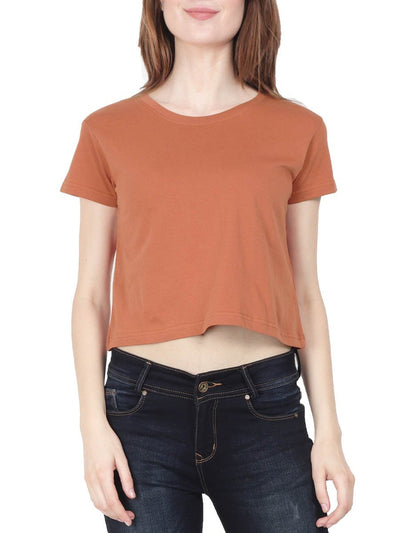 Plain Women's Saffron Half Sleeve Crop Top - Crazy Punch