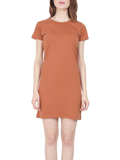 Plain Women's Saffron Half Sleeve T-Shirt Dress - Crazy Punch